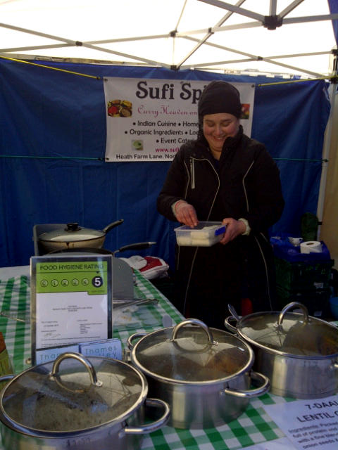One of the lovely people who runs Sufi Spice - superb Indian food, made with as many local ingredients as possible