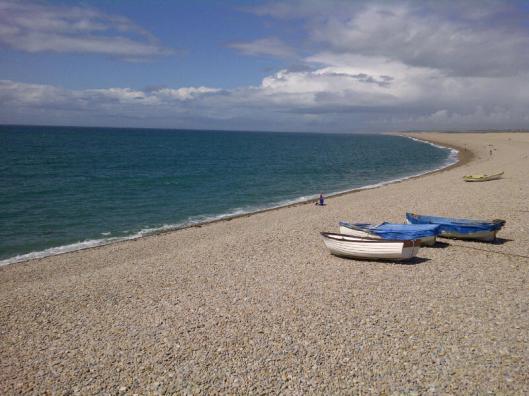 Chesil Beach on a sunny day